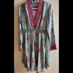 Johnny Was 100% Silk Floral Embroidered Boho Dress